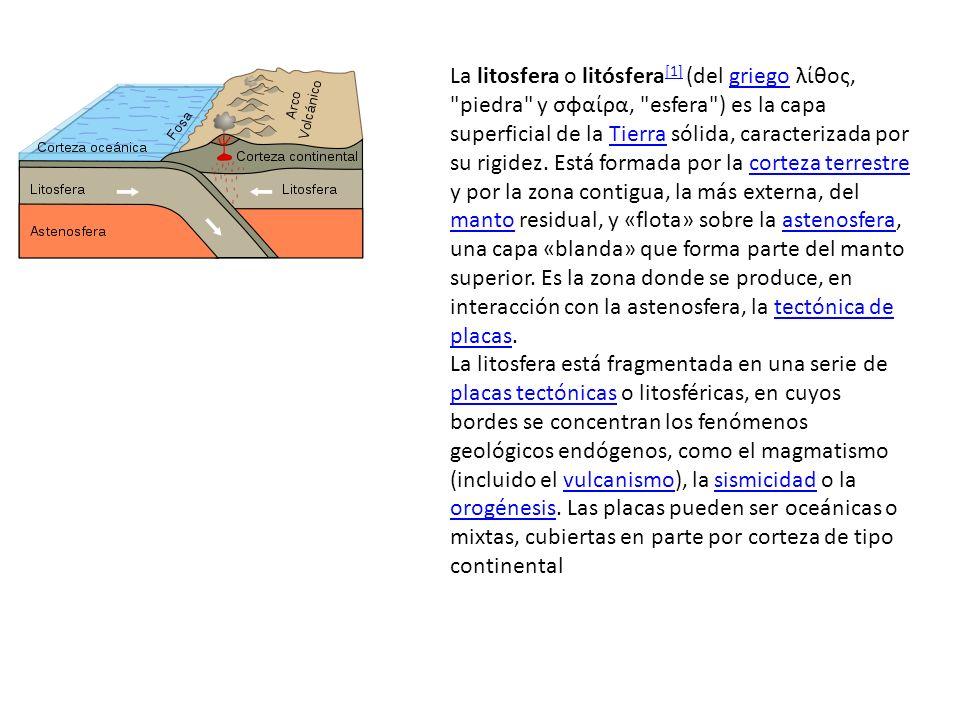 La litosfera o litósfera[1] (del griego λίθος, piedra y σφαίρα, esfera ) es la capa superficial de la Tierra sólida, caracterizada por su rigidez. Está formada por la corteza terrestre y por la zona contigua, la más externa, del manto residual, y «flota» sobre la astenosfera, una capa «blanda» que forma parte del manto superior. Es la zona donde se produce, en interacción con la astenosfera, la tectónica de placas.